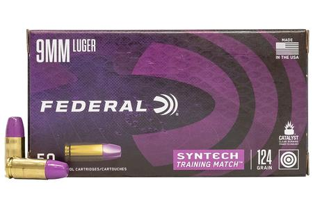 Federal 9mm Luger 124 gr TSJ Syntech Training Match 50/Box