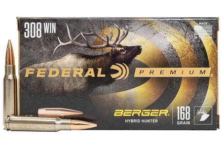 FEDERAL AMMUNITION 308 WIN 168 gr Berger Hybrid Hunter 20/Box