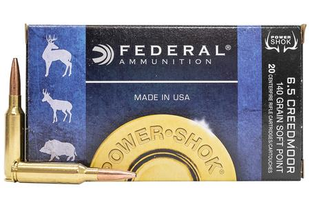 FEDERAL AMMUNITION 6.5 Creedmoor 140 gr Jacketed SP Power Shok 20/Box