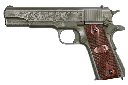 "Auto-Ordnance Fly Girls WW2 1911 Semi Auto Pistol .45 ACP 5"" Barrel 7 Rounds Adjustable Rear Sight US Logo Wood Grips Two Tone Black/OD Green Worn Cerakote Finish"