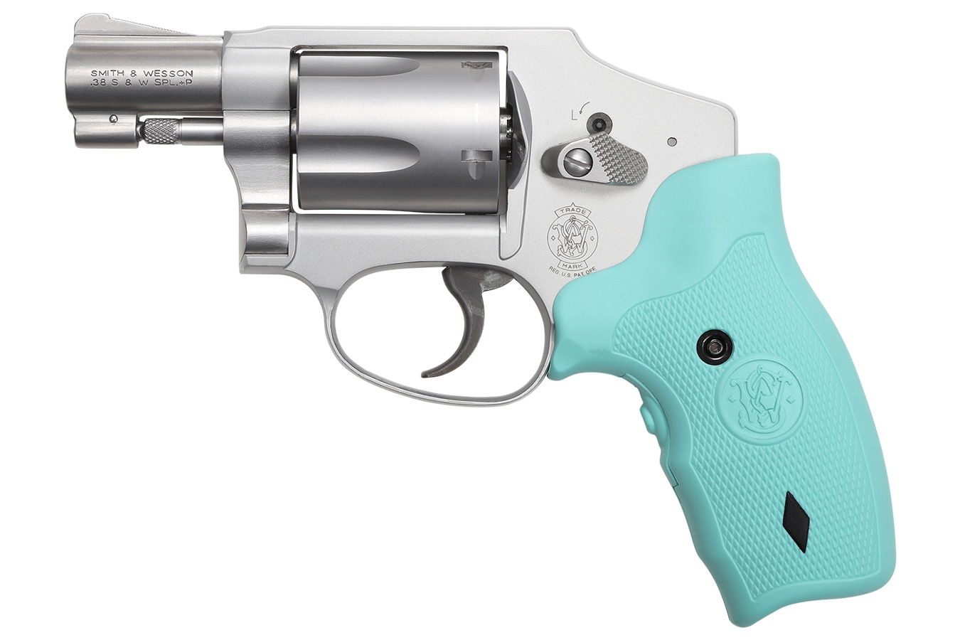 Model 642 38 Special Revolver with Robins Egg Blue CT Crimson Trace Laser  Grips