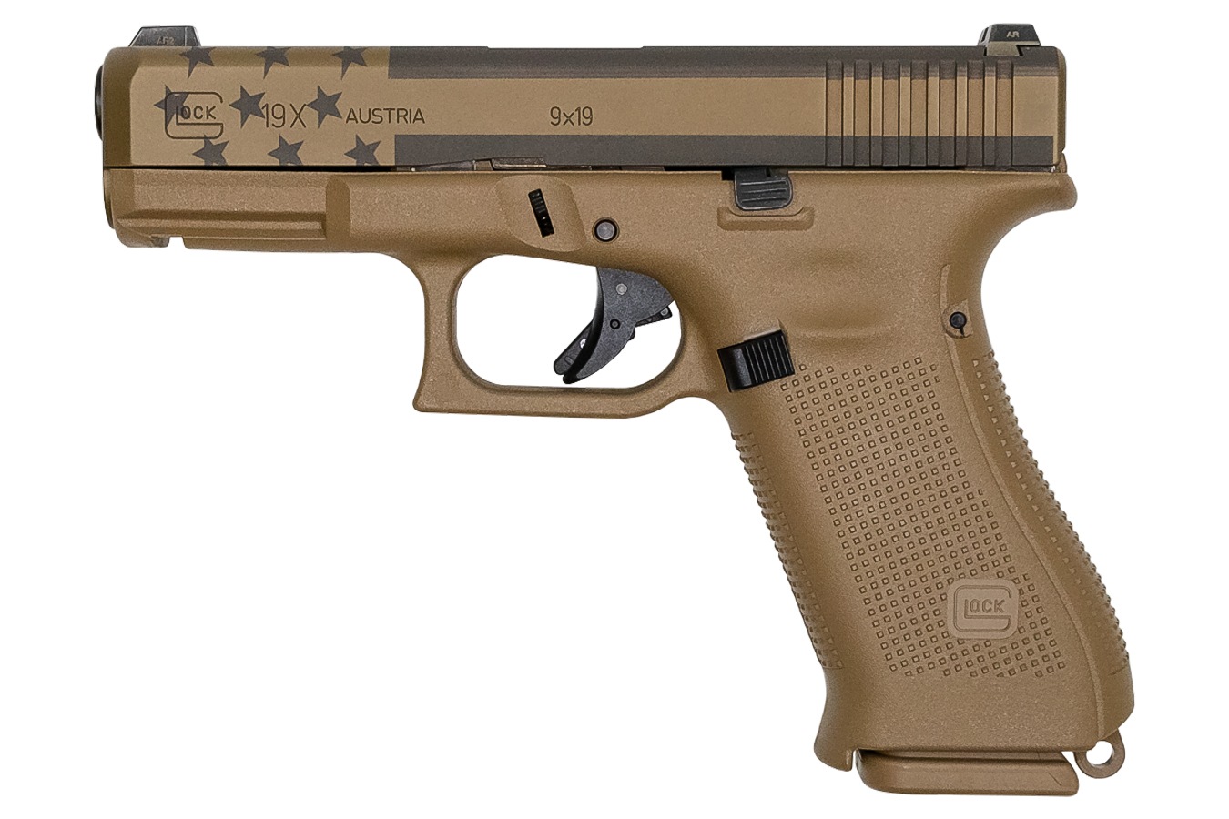 19x 9mm Full-Size FDE 17-Round Pistol with USA Flag Laser Etched Slide