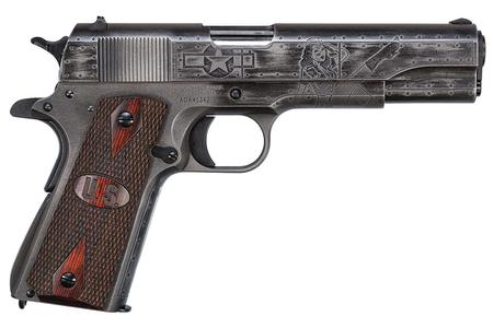 "Auto-Ordnance Victory Girls 1911 Semi Auto Pistol .45 ACP 5"" Barrel 7 Rounds Adjustable Rear Sight US Logo Wood Grips Two Tone Worn Cerakote Finish"