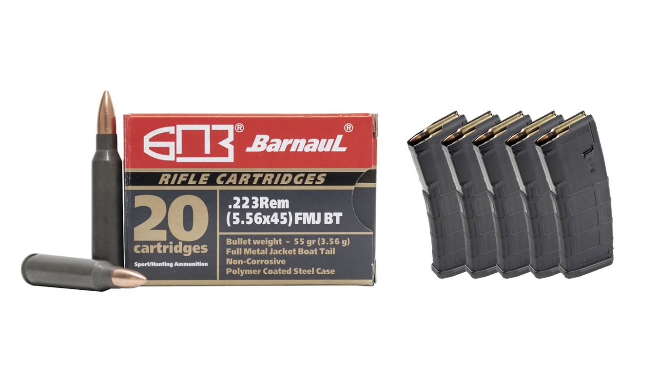 BARNAUL 223 AMMO WITH 5 MAGPUL PMAGS