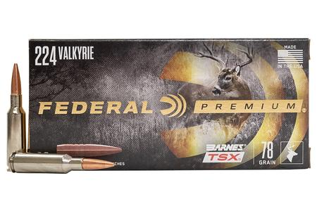FEDERAL AMMUNITION 224 Valkrie 78 gr Barnes TSX 20/Box
