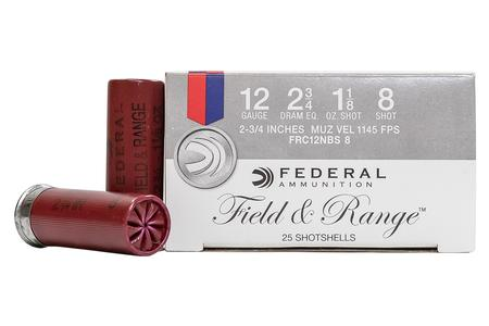 Federal 12 Gauge 2-3/4 in 1-1/8 oz 8-Shot Field and Range Trade Ammo 25/Box