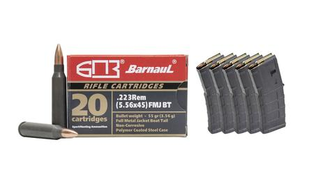 SPORTSMANS ESSENTIALS Barnaul 223 Rem 55 gr FMJ 500 Rounds W/ Five Magpul GEN M3 5.56mm 30-Round PMAGs