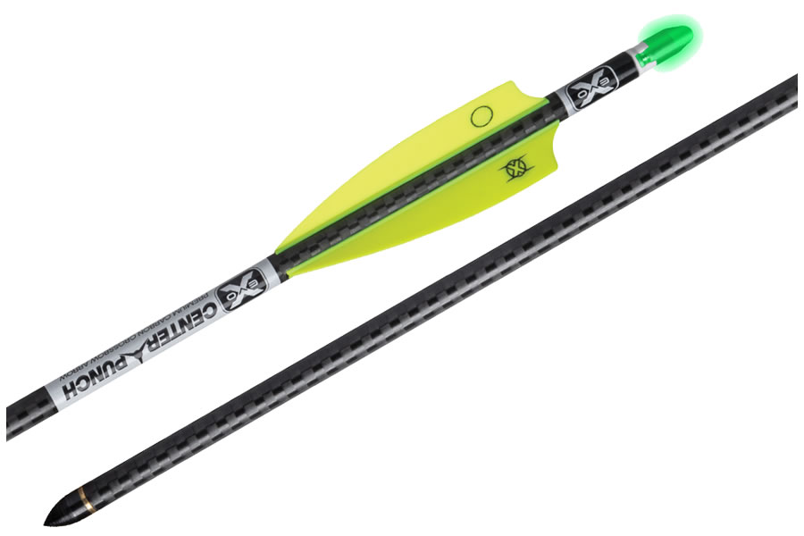 EVO-X CENTER PUNCH CARBON ARROWS, 20`, W/MOLDED ALPHA BRITE NOCKS