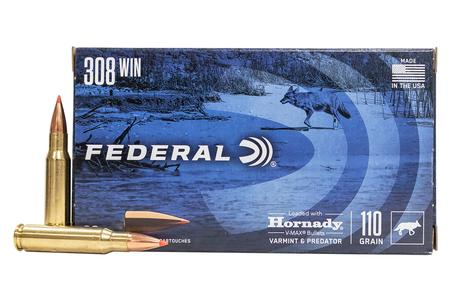 FEDERAL AMMUNITION 308 Win 110 gr Hornady V-Max Varmint and Predator 20/Box