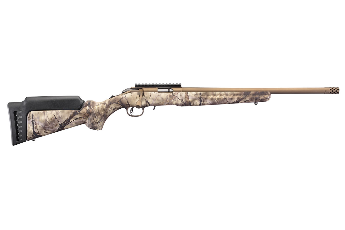 No. 13 Best Selling: RUGER AMERICAN RIMFIRE 22 MAGNUM 18 IN THREADED BBL BRONZE CERAKOTE GO WILD CAMO STOCK