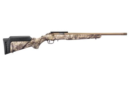 RUGER AMERICAN RIMFIRE 22 MAGNUM 18 IN THREADED BBL BRONZE CERAKOTE GO WILD CAMO STOCK