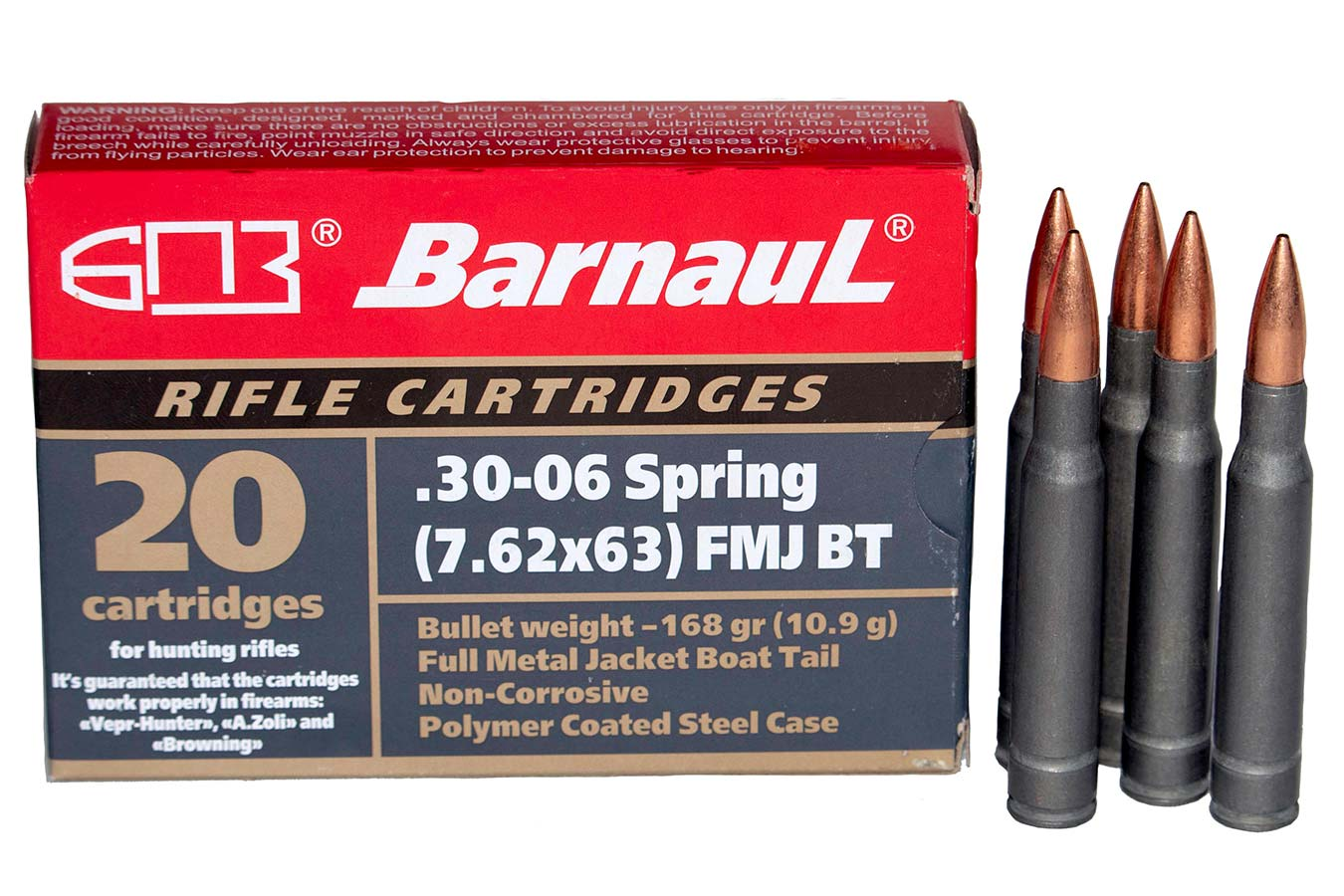 30-06 SPRINGFIELD 168GR FMJ STEEL POLYCOATED CASE 20/BOX