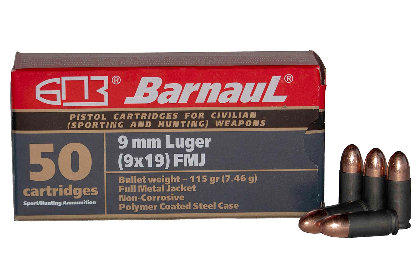 9MM LUGER 115 GR FMJ STEEL POLYCOATED CASE 50/BOX