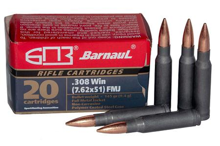 BARNAUL 308 Winchester 145 Gr FMJ Steel Polycoated Case 20/Box
