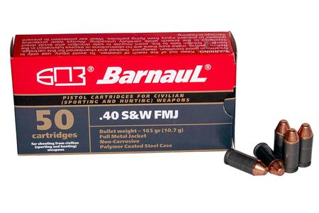 Barnaul 40 SW 165 GR FMJ Steel Polycoated Case 50/Box