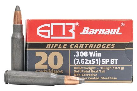 BARNAUL 308 Winchester 168 GR Soft Point Steel Polycoated Case 20/Box