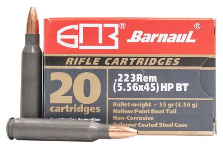 Barnaul 223 Remington 55 gr HP Steel Polycoated Case 20/Box
