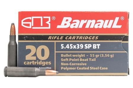 BARNAUL 5.45x39 55 GR Soft Point Steel Polycoated Case 20/Box