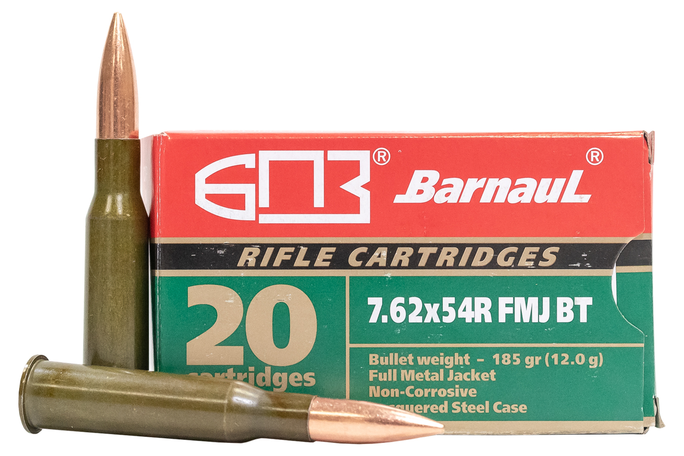 7.62X54R 185 GR FMJBT STEEL LACQUERED CASE