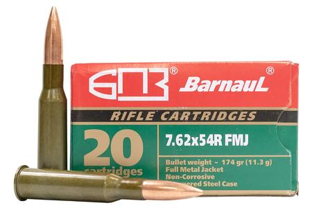 BARNAUL 7.62x54R 174 GR Full Metal Jacket Steel Lacquered Case 20/Box
