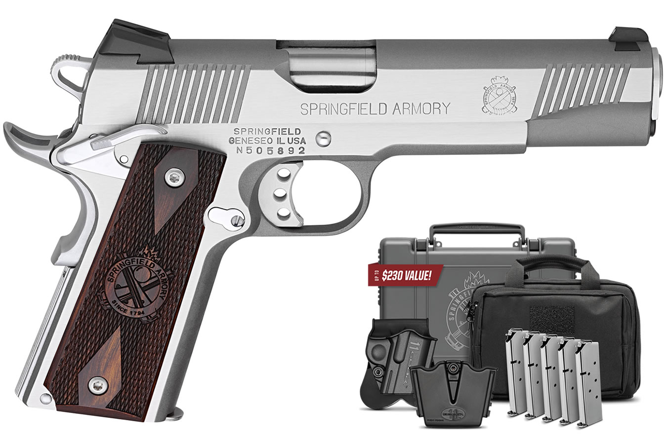 No. 8 Best Selling: SPRINGFIELD 1911 LOADED 45 ACP 5 IN BBL SS GEAR UP PACKAGE THREE DOT COMBAT SIGHTS