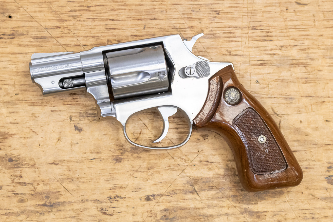 85 38 Special Stainless Used Trade-in Revolver with Wood Grips