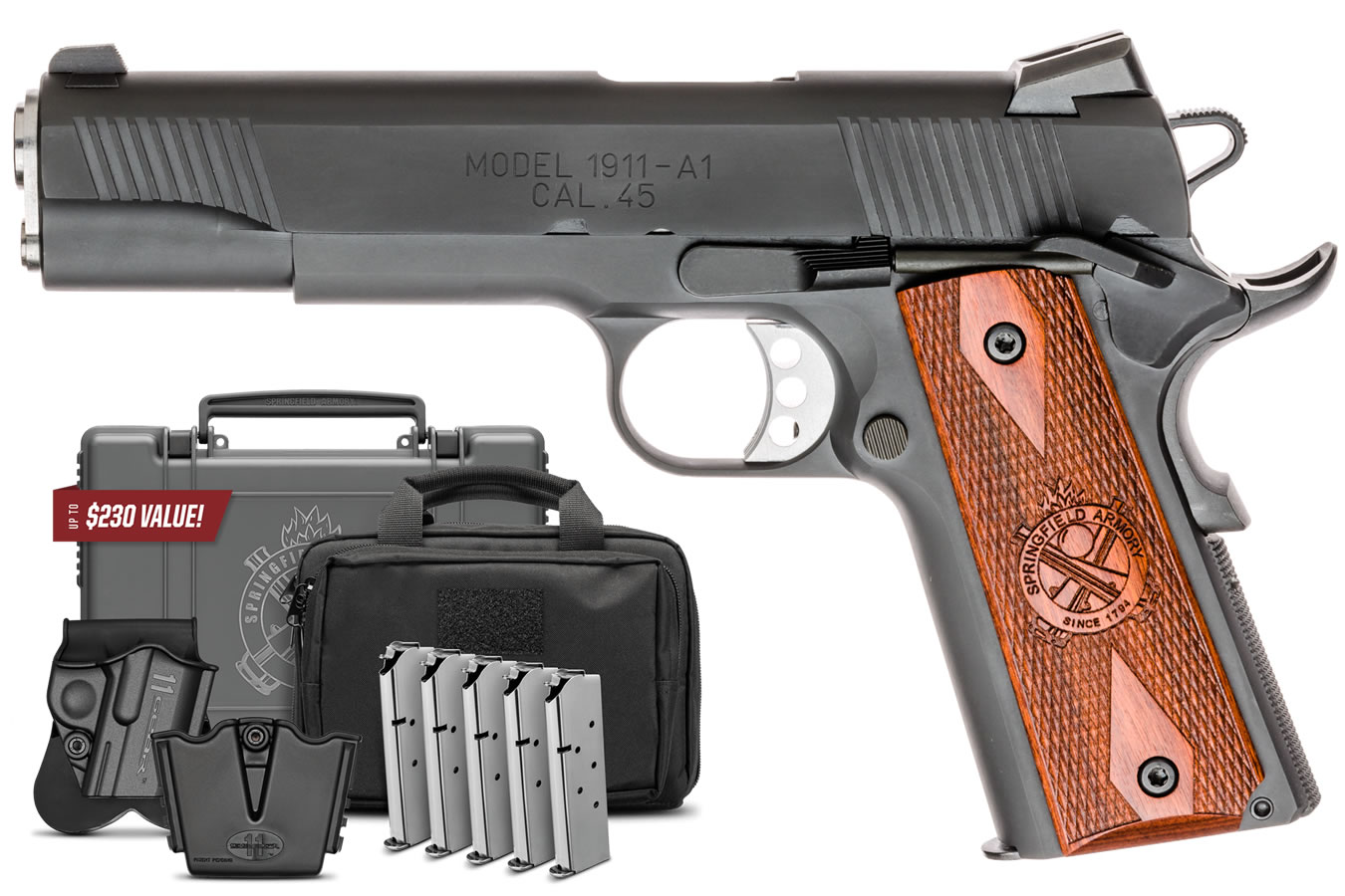 No. 9 Best Selling: SPRINGFIELD 1911 LOADED 45 ACP GEAR UP PACKAGE 5 IN BBL NIGHT SIGHTS PARKERIZED FINISH