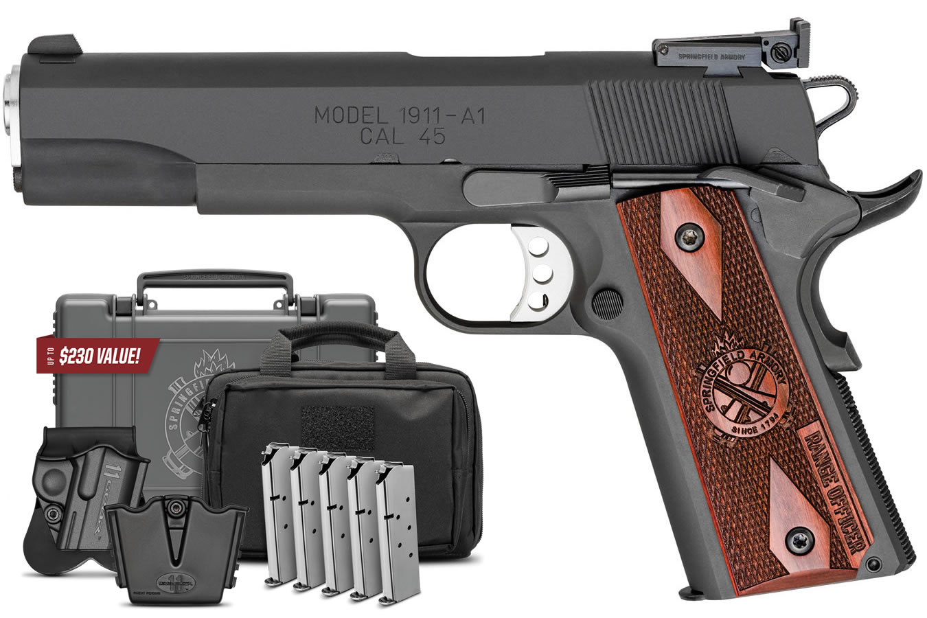 No. 5 Best Selling: SPRINGFIELD 1911 RANGE OFFICER 45 ACP 5 IN BBL CARBON STEEL SLIDE AND FRAME GEAR UP PACKAGE