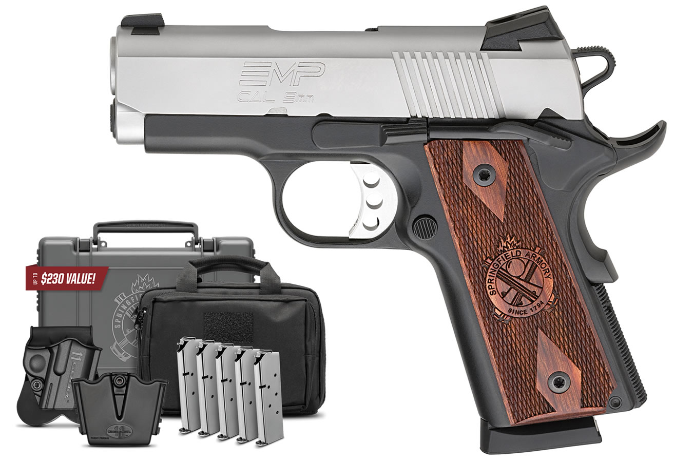 No. 7 Best Selling: SPRINGFIELD EMP COMPACT 9MM 3 IN LIGHT WEIGHT BBL SS SLIDE GEAR UP PACKAGE