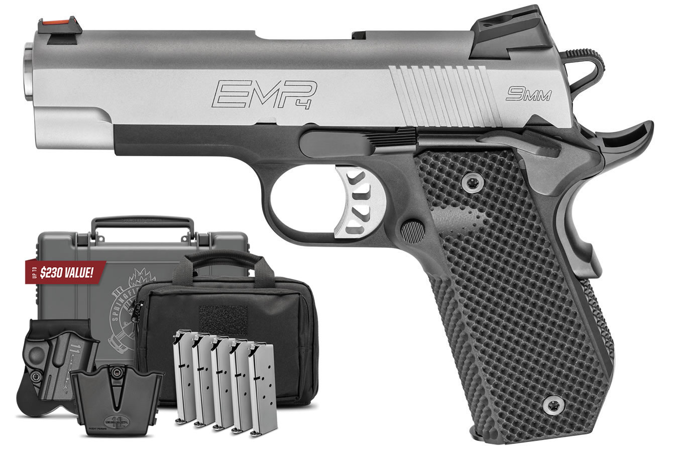 No. 6 Best Selling: SPRINGFIELD 1911-A1 EMP 9MM 4 IN BBL BLACK G10 GRIPS SS SLIDE GEAR UP PACKAGE