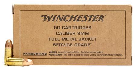 Winchester 9mm Luger 115 gr FMJ Service Grade 50/Box