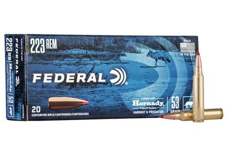 FEDERAL AMMUNITION 223 Rem 53 gr Hornady V-Max Varmint and Predator 20/Box
