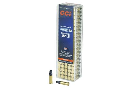 CCI 22 LR 40 GR Poly-Coated LRN Clean-22 Sub-Sonic 100/Box