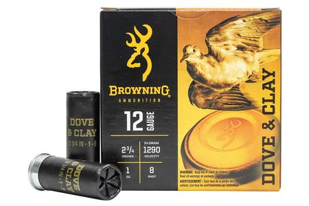 Browning 12 Gauge 2-3/4 Inch 1oz 8 Dove and Clay 25/Box