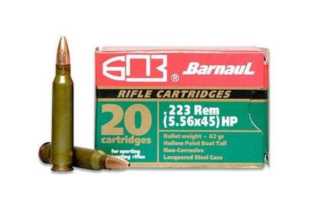 BARNAUL 223 Remington 62 Grain HP Steel Polycoated Case 20/Box