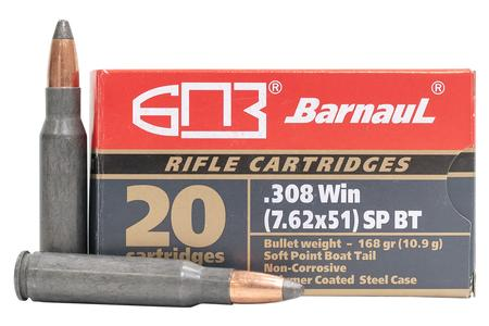 Barnaul 308 Winchester 168 Grain FMJ Steel Polycoated Case 20/Box