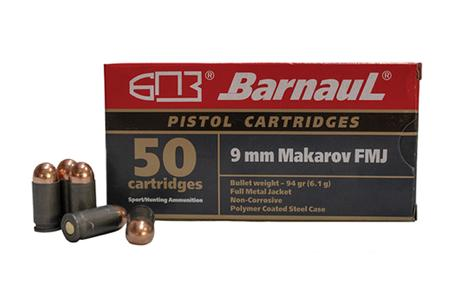 BARNAUL 9mm Makarov 94 Grain FMJ Steel Polycoated Case 50/Box