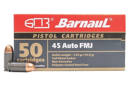 Barnaul 45 Auto 230 gr FMJ Steel Polycoated Case 50/Box