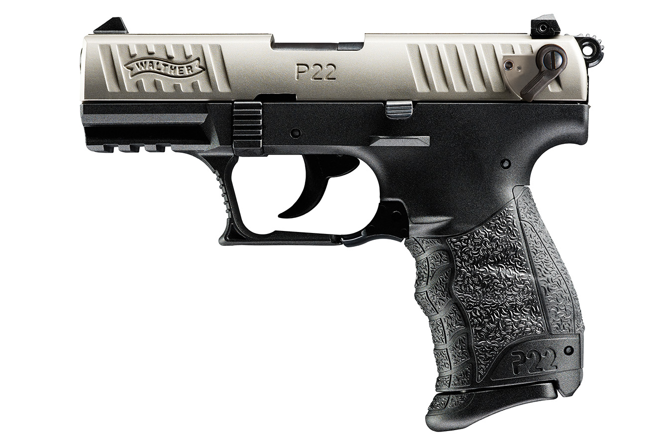 WALTHER P22 QD 22LR RIMFIRE PISTOL WITH NICKEL SLIDE