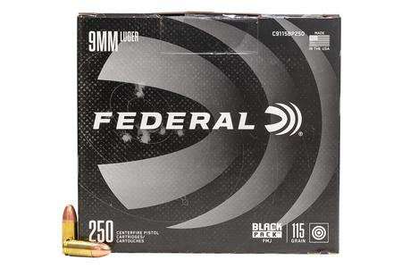 Federal 9mm Luger 115 gr  FMJ Black Pack 250/Box