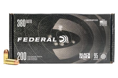 Federal 380 ACP 95 gr FMJ Black Pack 200/Box