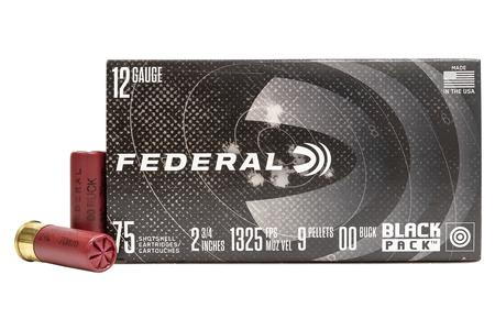 Federal 12 Gauge 2-3/4 In 00 Buckshot Black Pack 75/Box