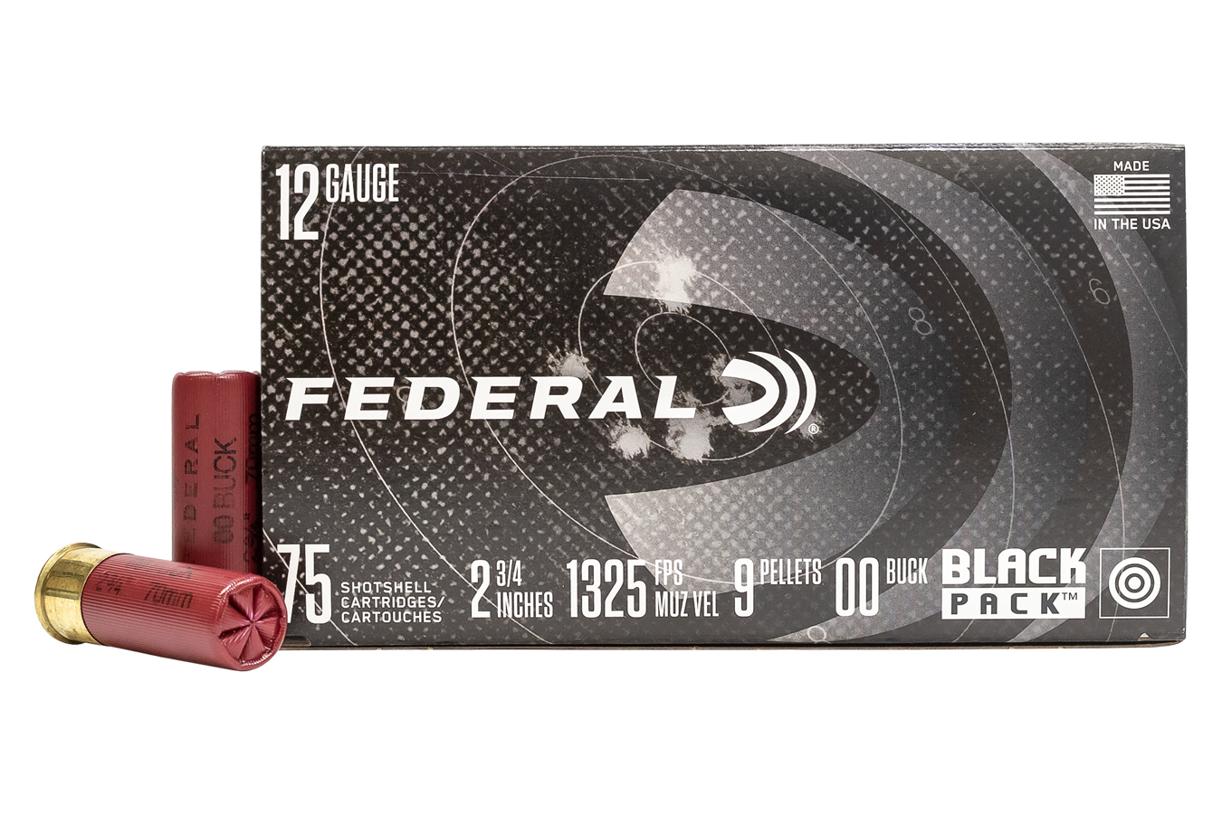 12 GAUGE 2-3/4 IN 00 BUCKSHOT BLACK PACK 75/BOX