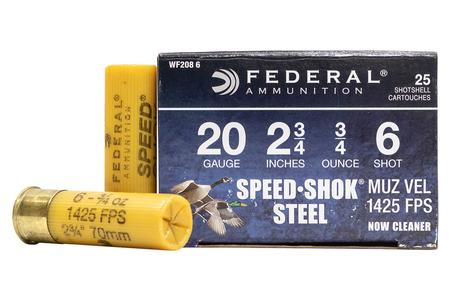 FEDERAL AMMUNITION 20 GA 2-3/4 Inch 3/4 oz 6 Shot Speed-Shok 25/Box