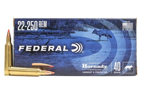 Federal 22-250 Rem 40 Grain Hornady V-Max Varmint and Predator 20/Box