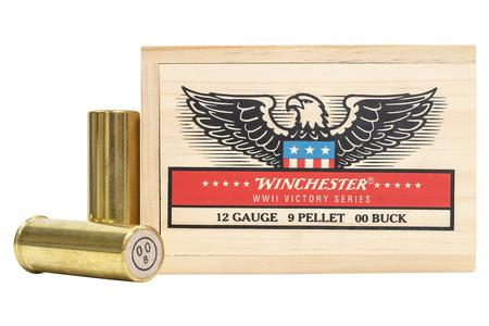 WINCHESTER AMMO 12 Gauge Brass 9 Pellet 00 Buck WWII Victory Series M19 Limited Edition 5 Rounds in Wood Box