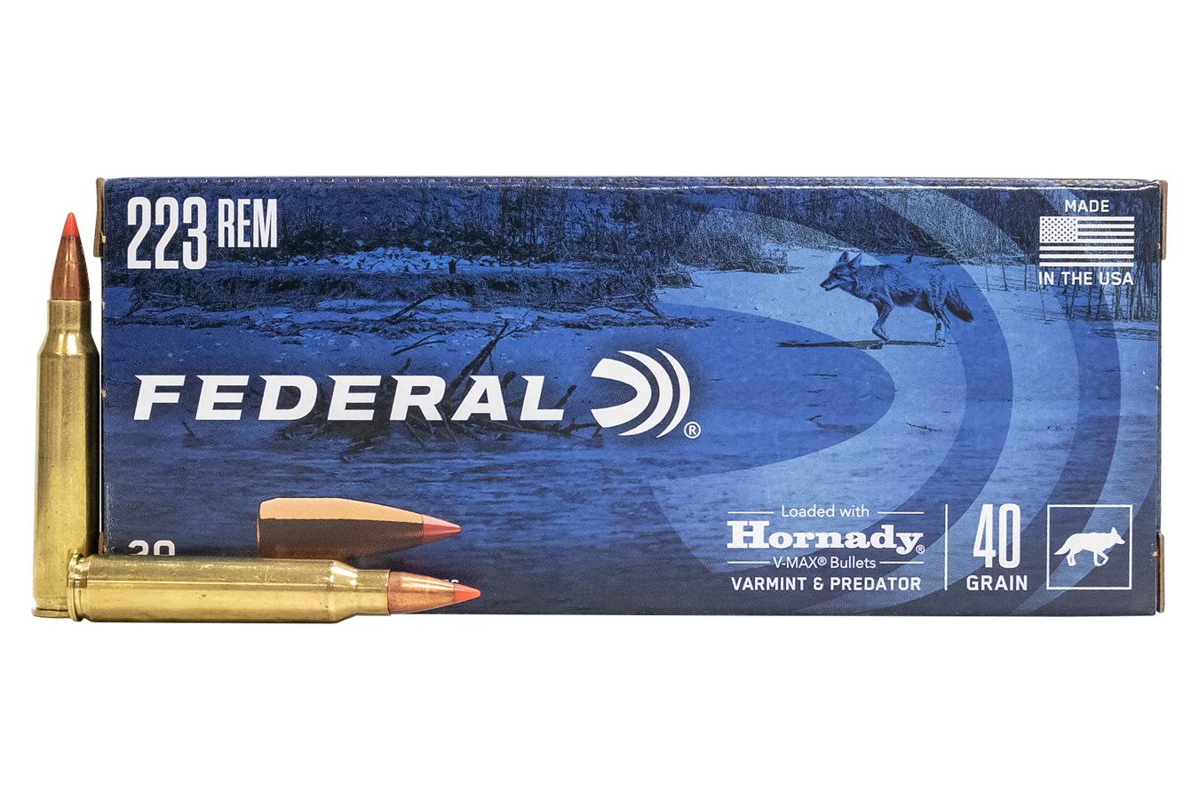 Federal 223 REM 40 gr Hornady V-Max Varmint and Predator 20/Box