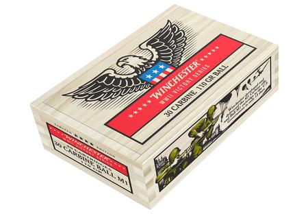 WINCHESTER AMMO 30 Carbine 100 gr FMJ Ball M1 Cartridge WWII Victory Series 20 Rounds in Wood Box