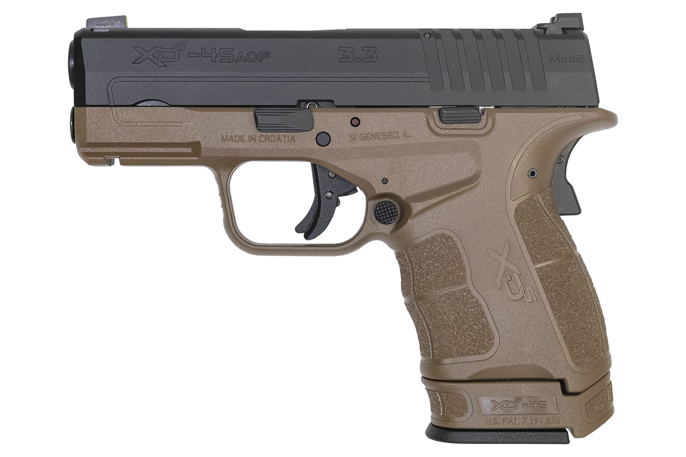 XDS MOD 2 45 ACP 3.3 IN BARREL FDE FRAME BLACK SLIDE TRITIUM FRONT SIGHT