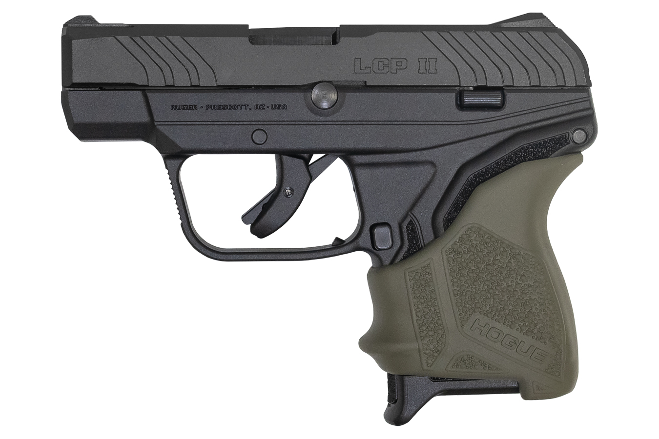 RUGER LCP II 380 AUTO WITH OD GREEN HOGUE GRIP SLEEVE